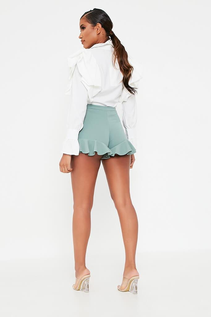 Sage High Waist Frill Shorts view 5