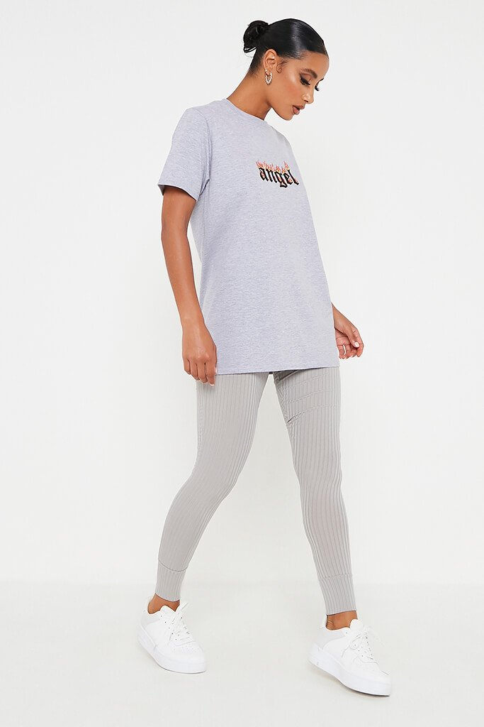 Grey Marl Angel Flames Oversized T-Shirt view 3