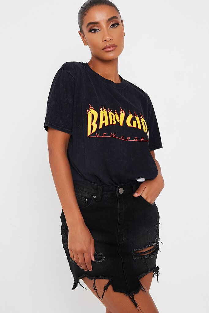 Grey Babygirl Flames Acid Wash Oversized T Shirt view main view