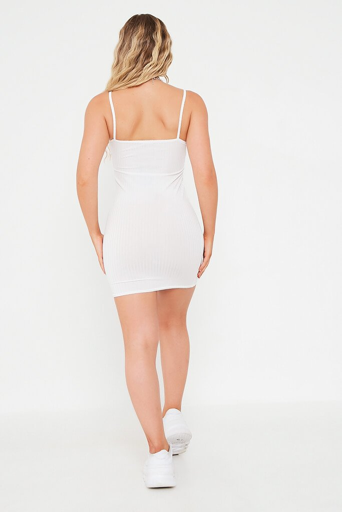 White Ribbed Square Neck Cami Bodycon Dress view 5