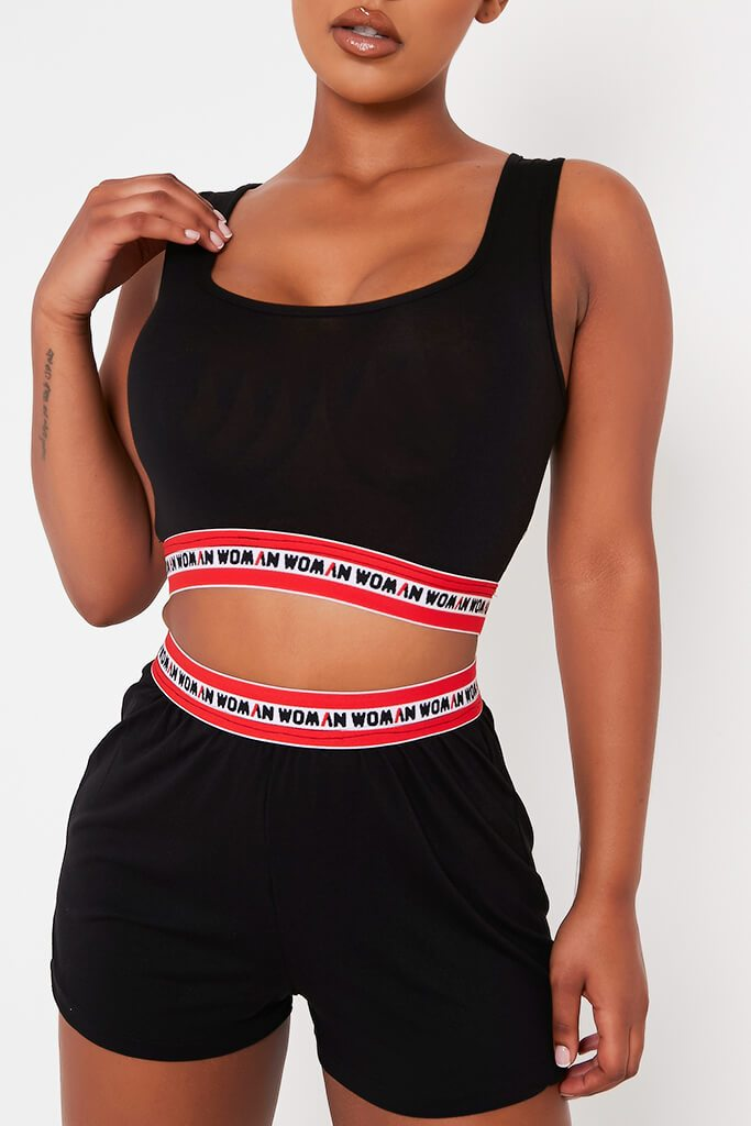 Black Elastic Detail Crop And Shorts Set view 4