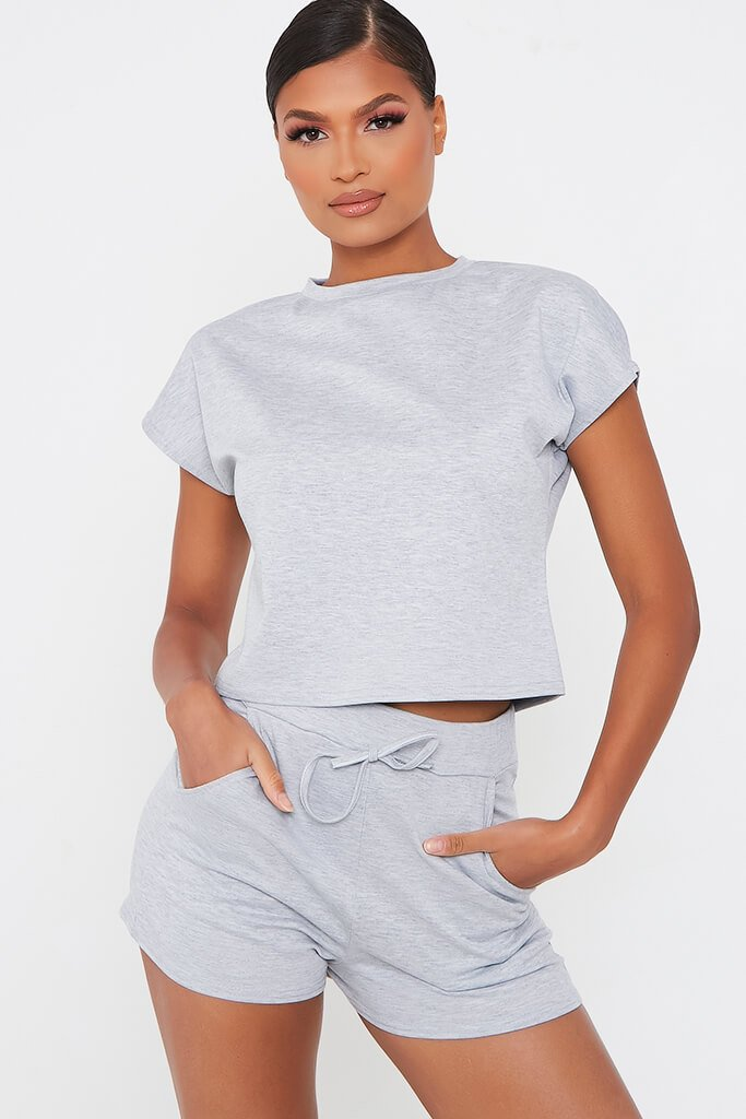 Grey Boxy Crop And Shorts Lounge Set