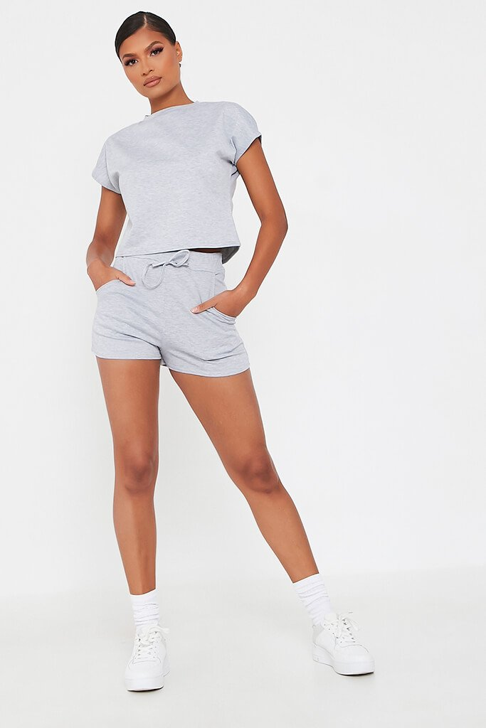 Grey Boxy Crop And Shorts Lounge Set view 2