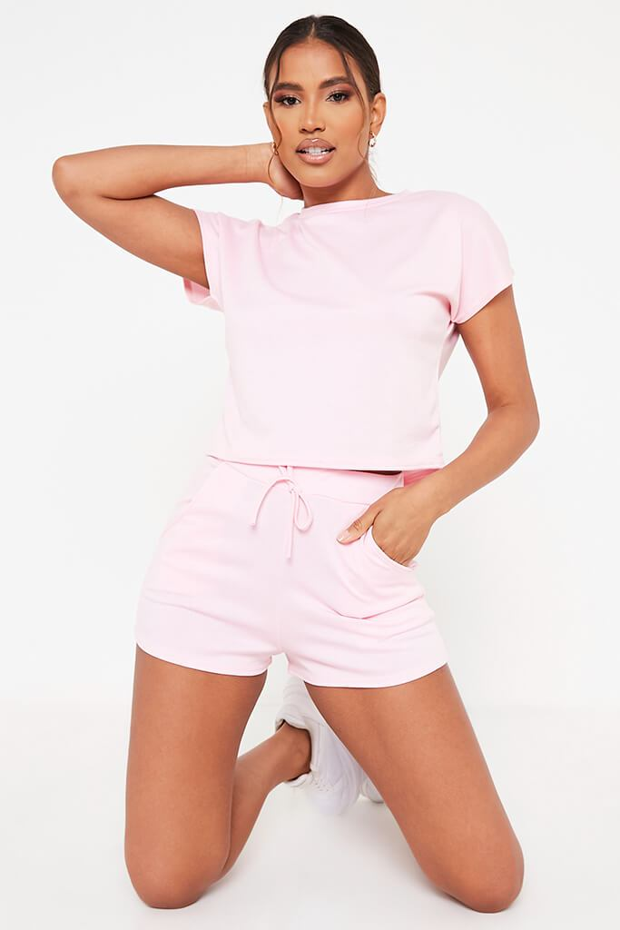 Baby Pink Boxy Crop And Shorts Lounge Set