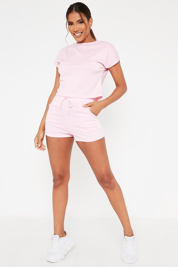 Baby Pink Boxy Crop And Shorts Lounge Set view 2