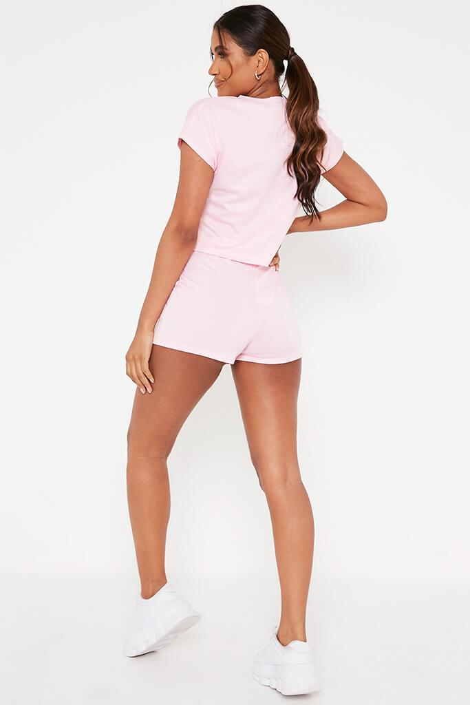 Baby Pink Boxy Crop And Shorts Lounge Set view 5