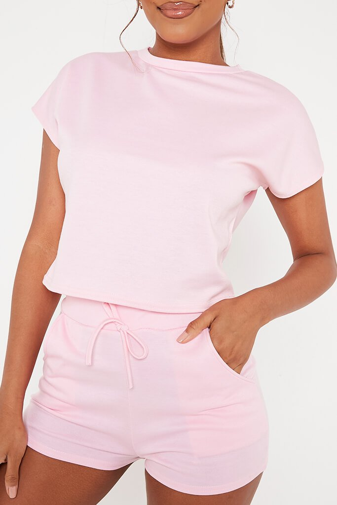 Baby Pink Boxy Crop And Shorts Lounge Set view 4