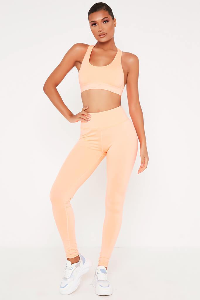 Peach Strappy Back Active Sports Bra view 2