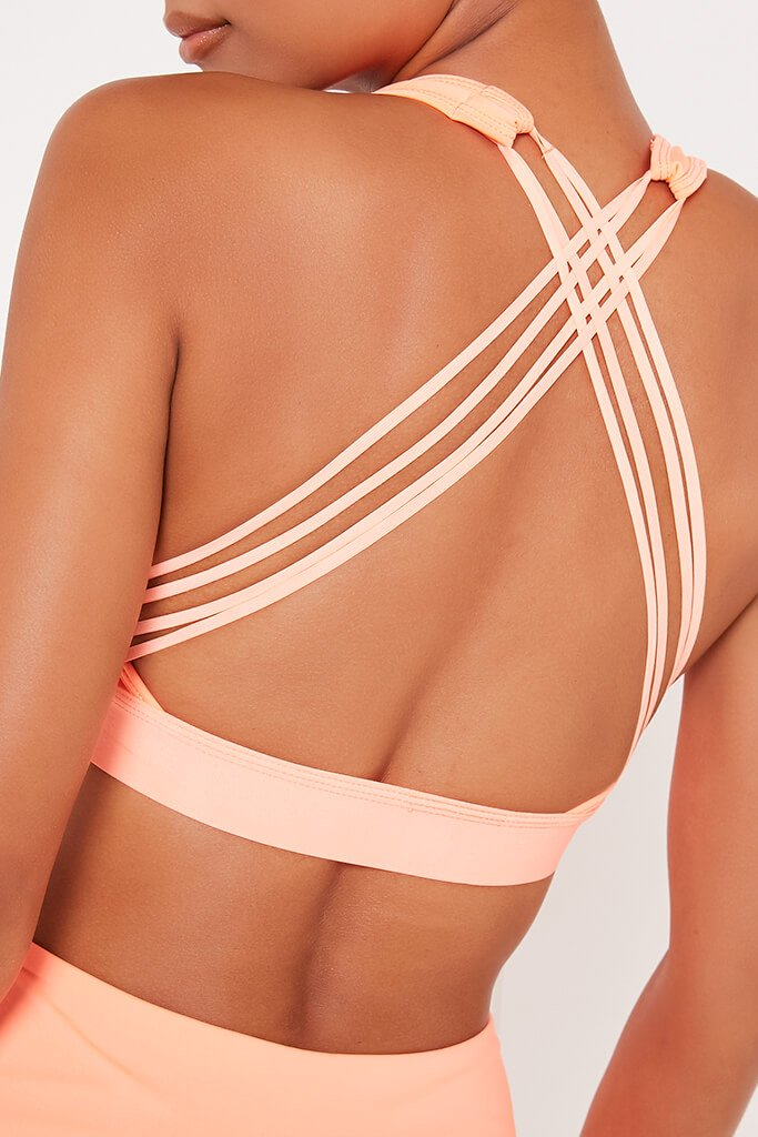 Peach Strappy Back Active Sports Bra view 4