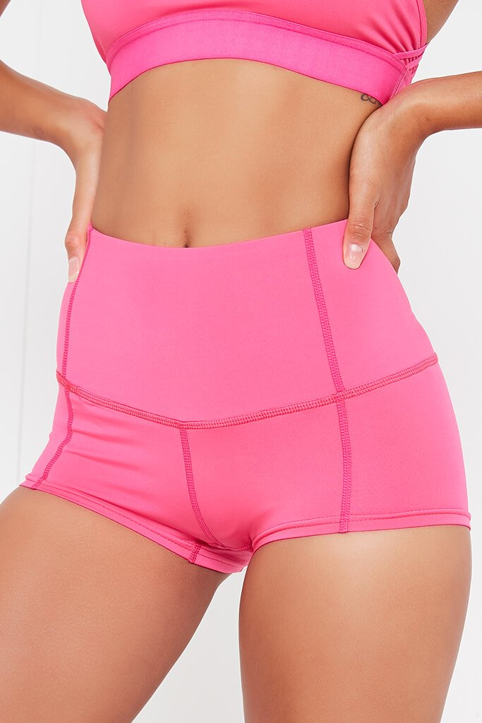 Hot Pink Basic High Waisted Active Shorts view 4