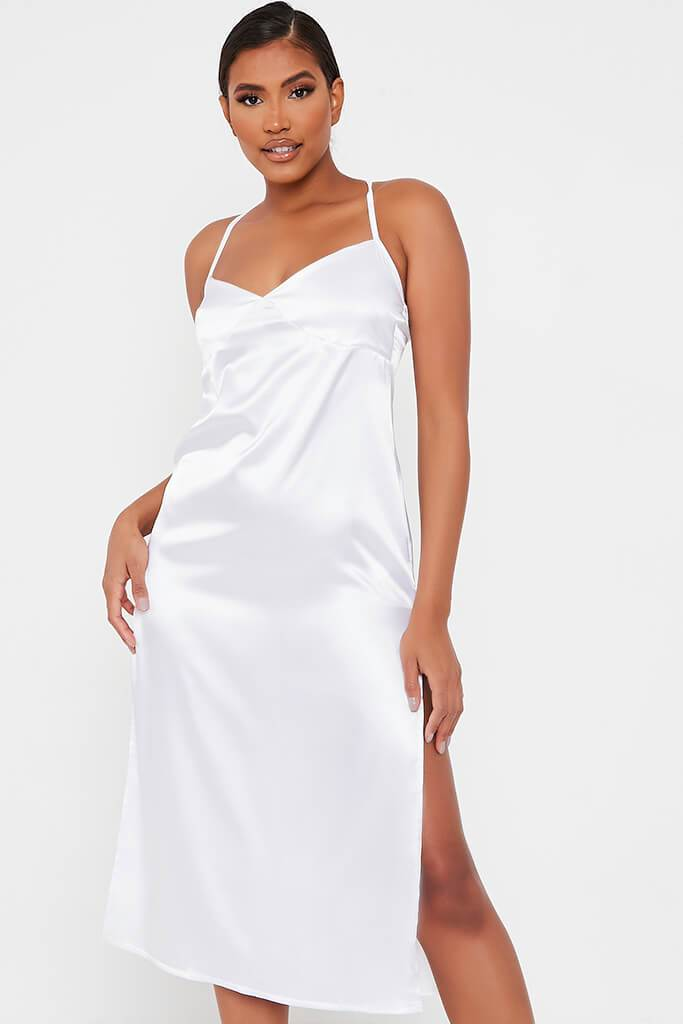 White Satin Slip Midi Dress