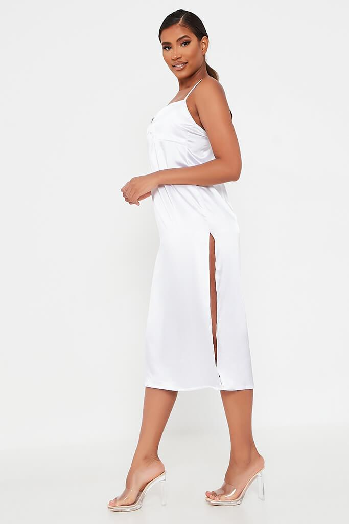White Satin Slip Midi Dress view 3