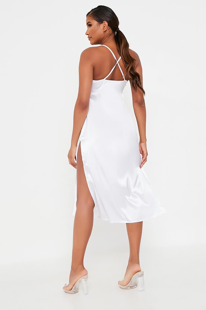 White Satin Slip Midi Dress view 5