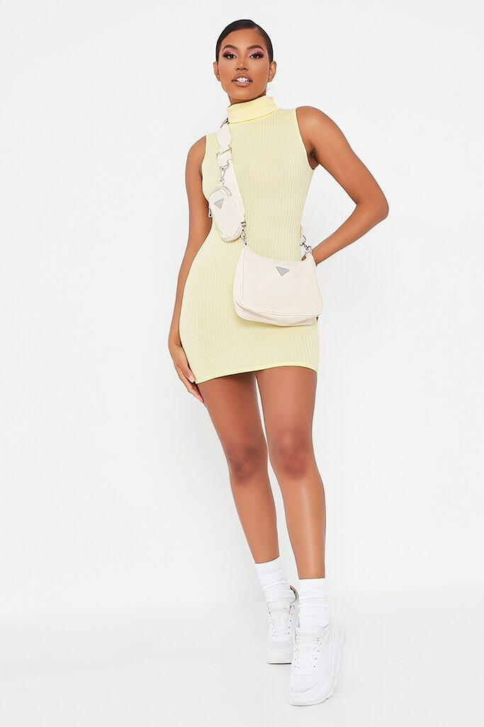 Lemon Sleeveless Roll Neck Ribbed Bodycon Dress view 2