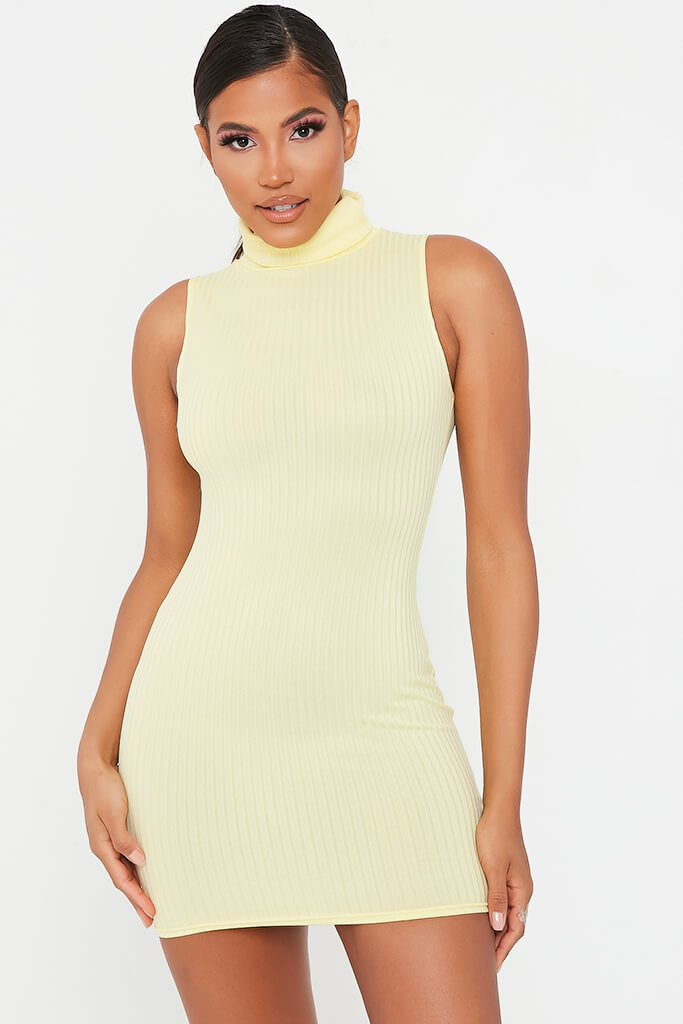 Lemon Sleeveless Roll Neck Ribbed Bodycon Dress view main view