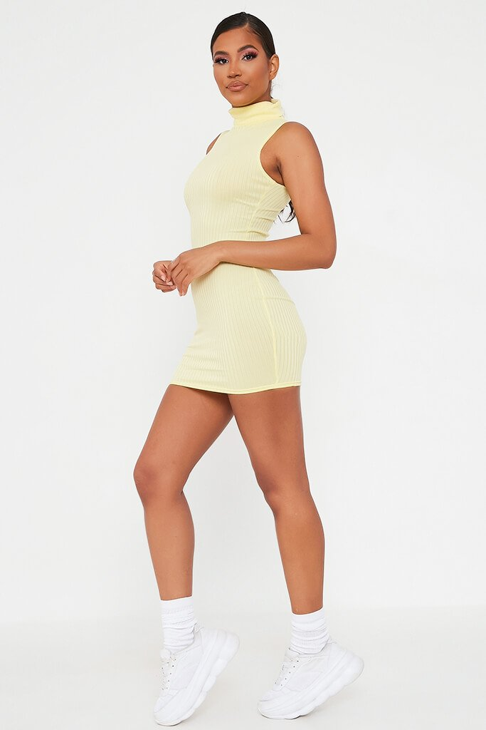 Lemon Sleeveless Roll Neck Ribbed Bodycon Dress view 3
