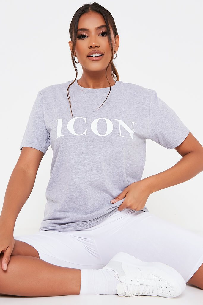Grey Marl Icon Slogan Oversized T Shirt