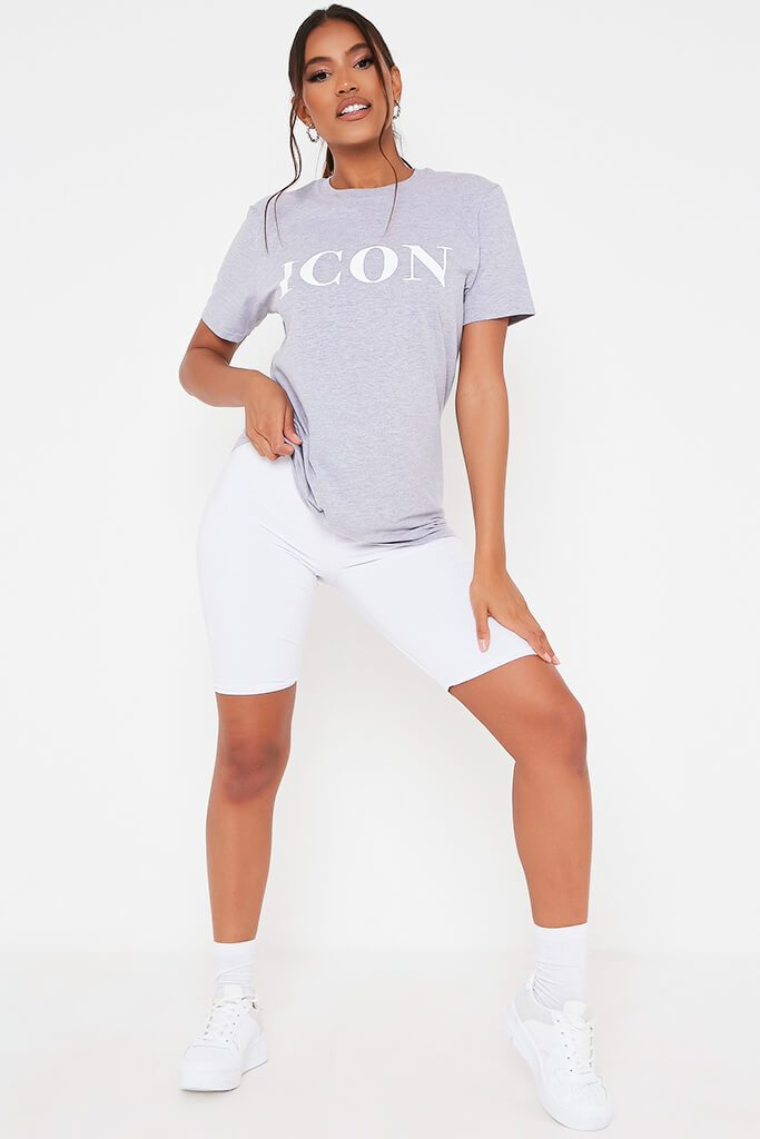 Grey Marl Icon Slogan Oversized T Shirt view 2