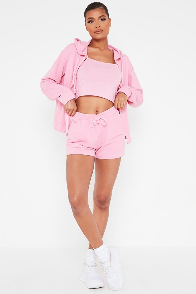 Pink Cami Short And Hoodie Set view 2