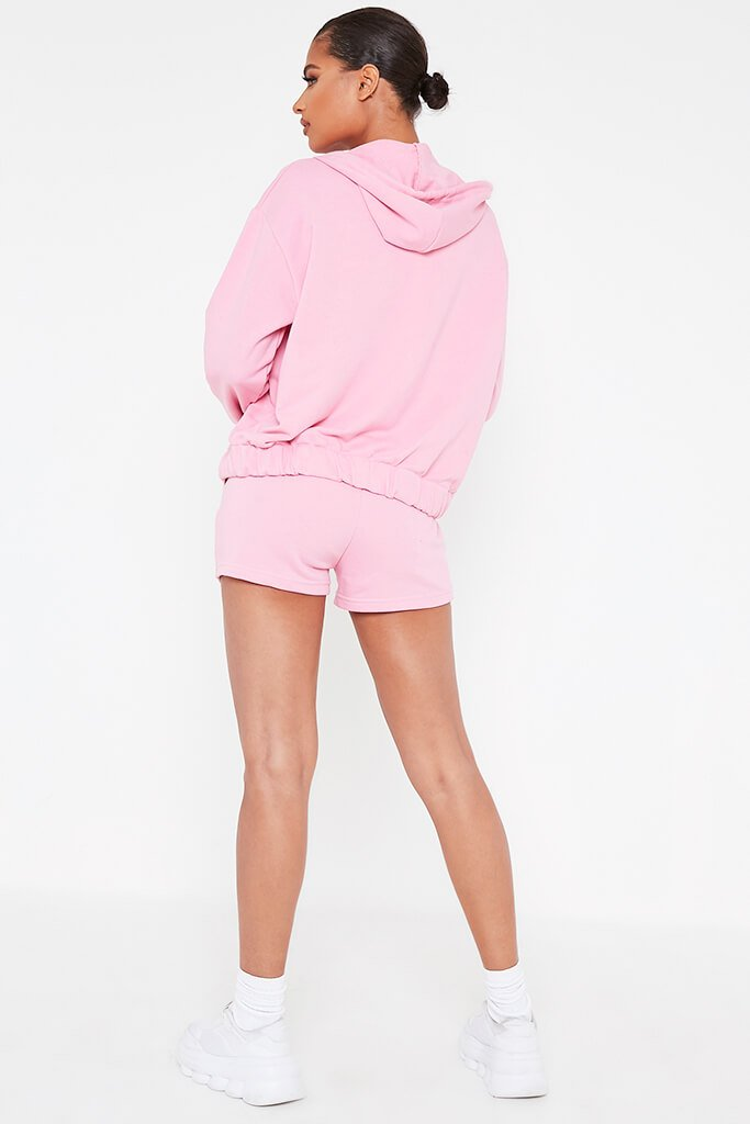 Pink Cami Short And Hoodie Set view 5