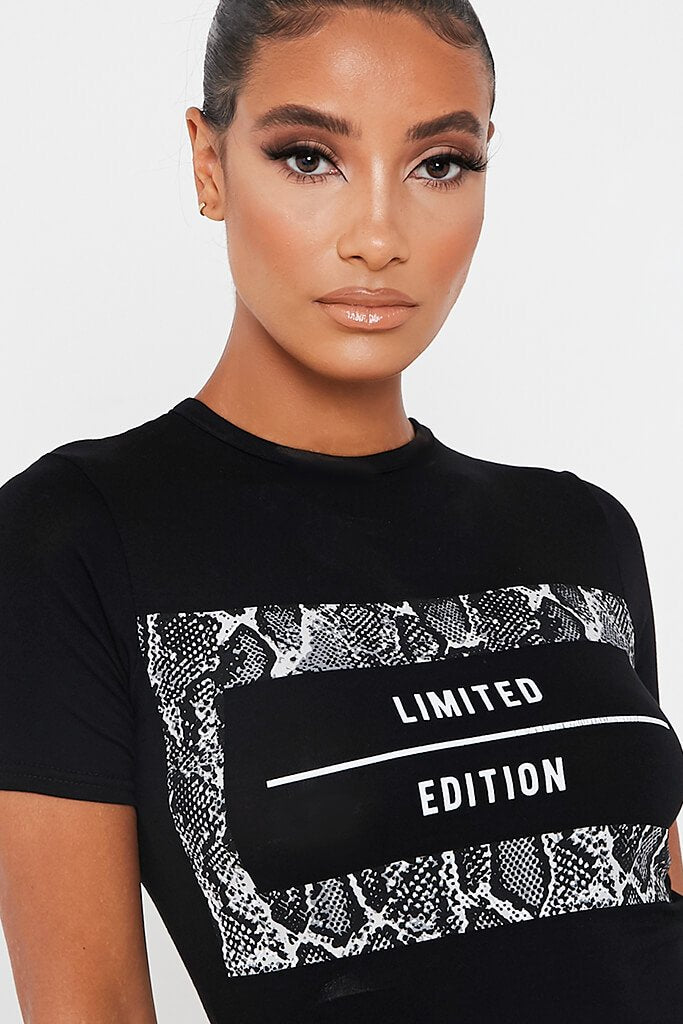 Black Limited Edition Print Crop T Shirt view 4
