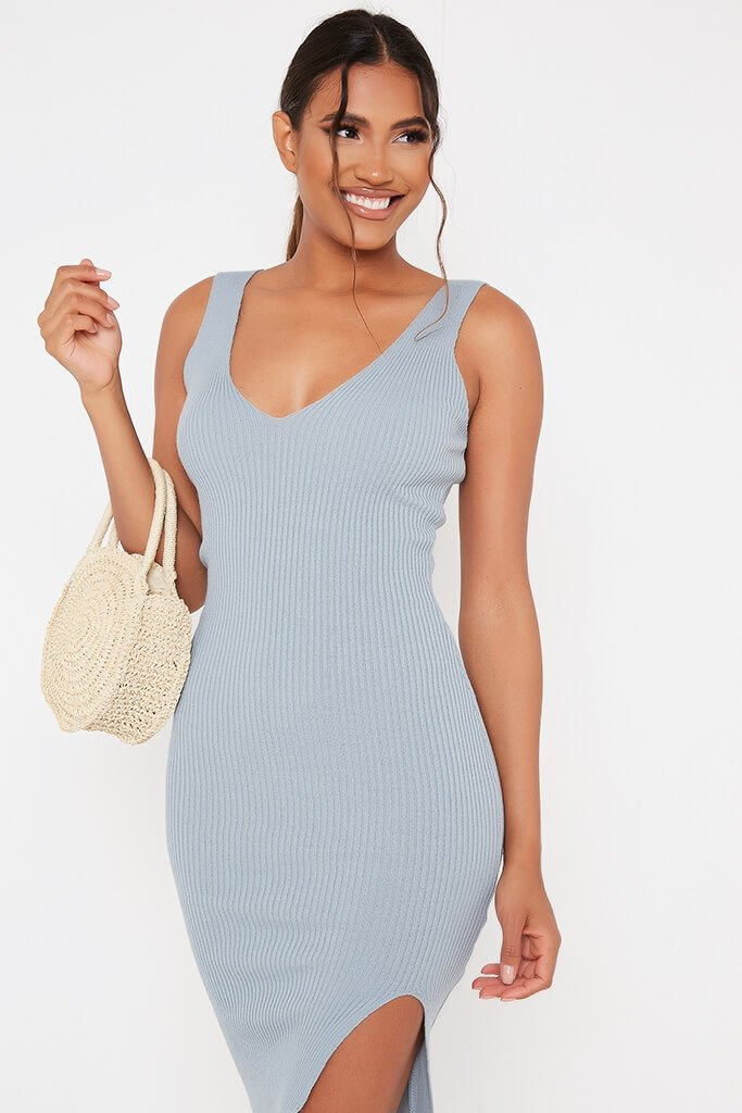 Baby Blue Ribbed Knitted Dress With Leg Slit view 2