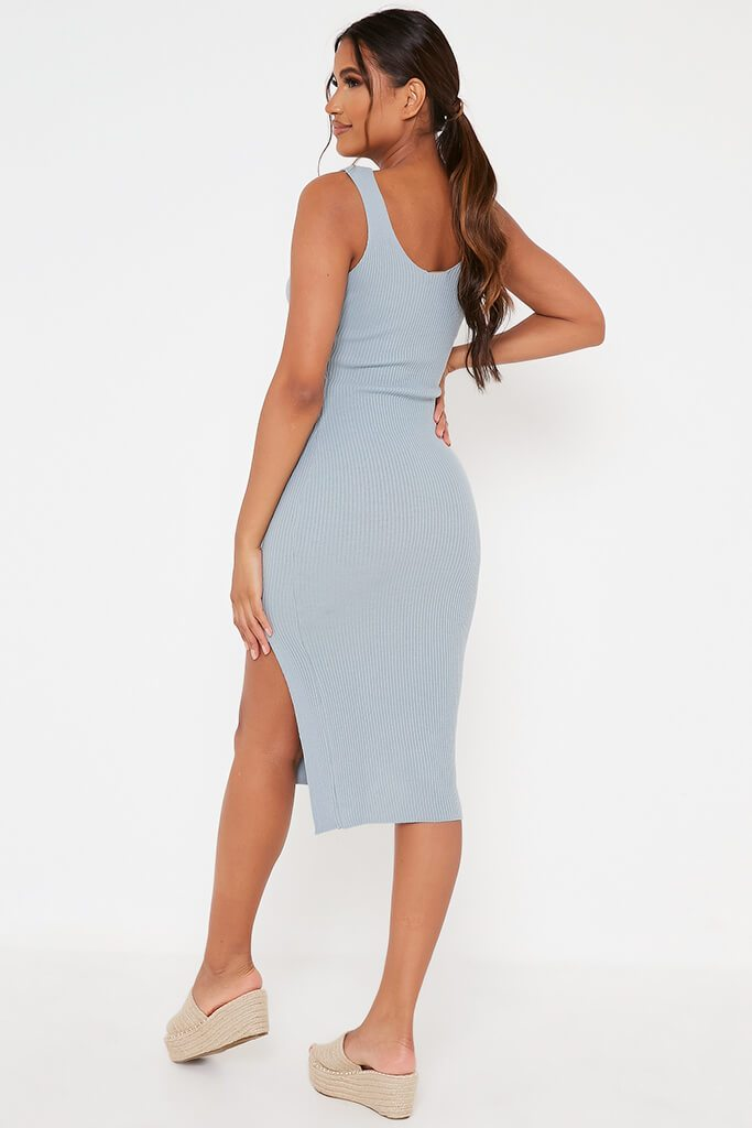 Baby Blue Ribbed Knitted Dress With Leg Slit view 5