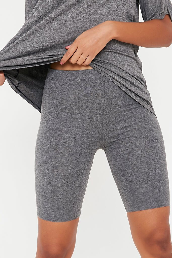 Charcoal Cotton Cycling Shorts view 4