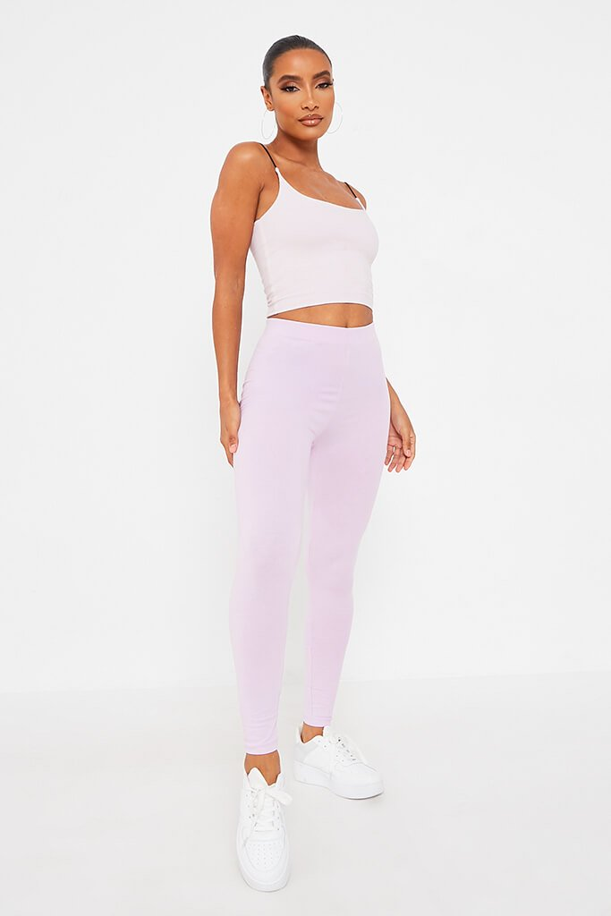 Lilac Cotton Elastane Legging view 3