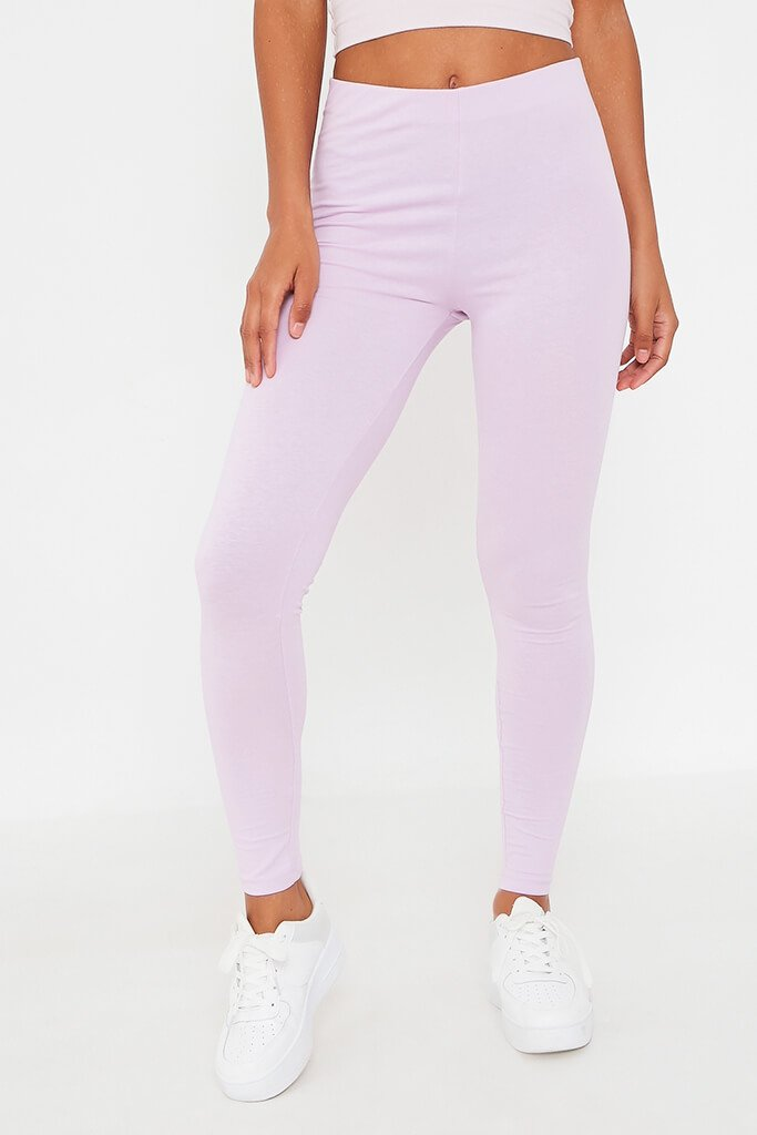Lilac Cotton Elastane Legging view 2