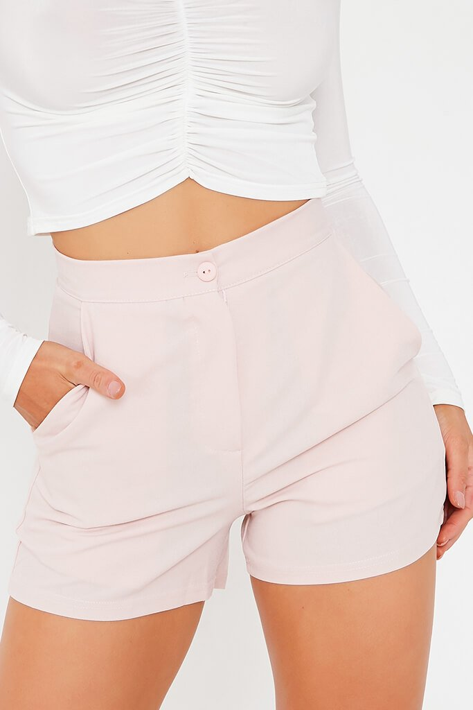 Blush Pink High Waisted Shorts view 5