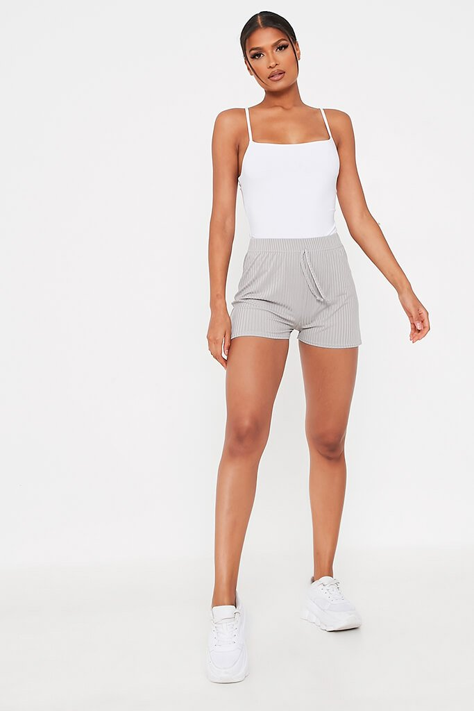 Grey Ribbed Tie Front Runner Shorts view 2