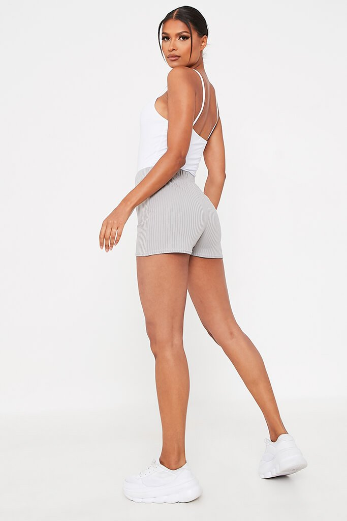 Grey Ribbed Tie Front Runner Shorts view 5