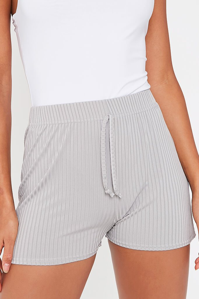 Grey Ribbed Tie Front Runner Shorts view 4