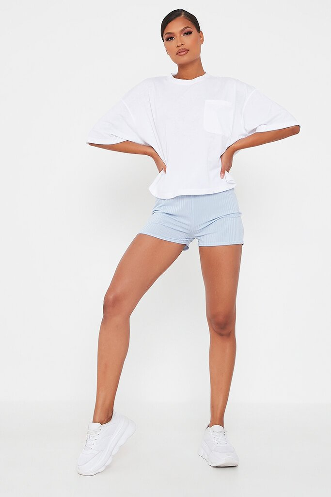 Pale Blue Ribbed Tie Front Runner Shorts view 2
