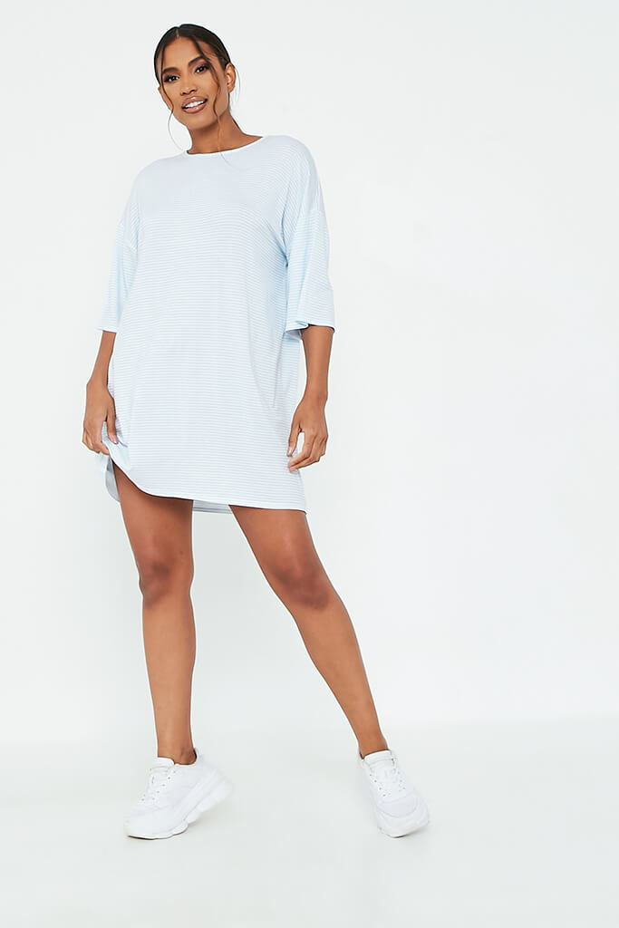 Baby Blue Stripe Oversized T-Shirt Dress