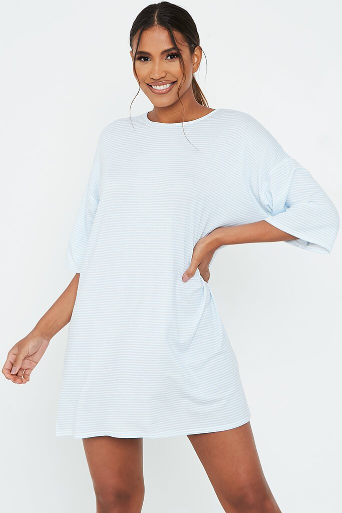 Baby Blue Stripe Oversized T-Shirt Dress view 2