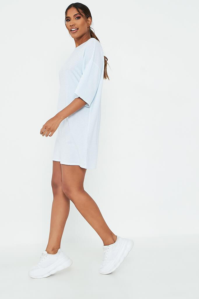 Baby Blue Stripe Oversized T-Shirt Dress view 3
