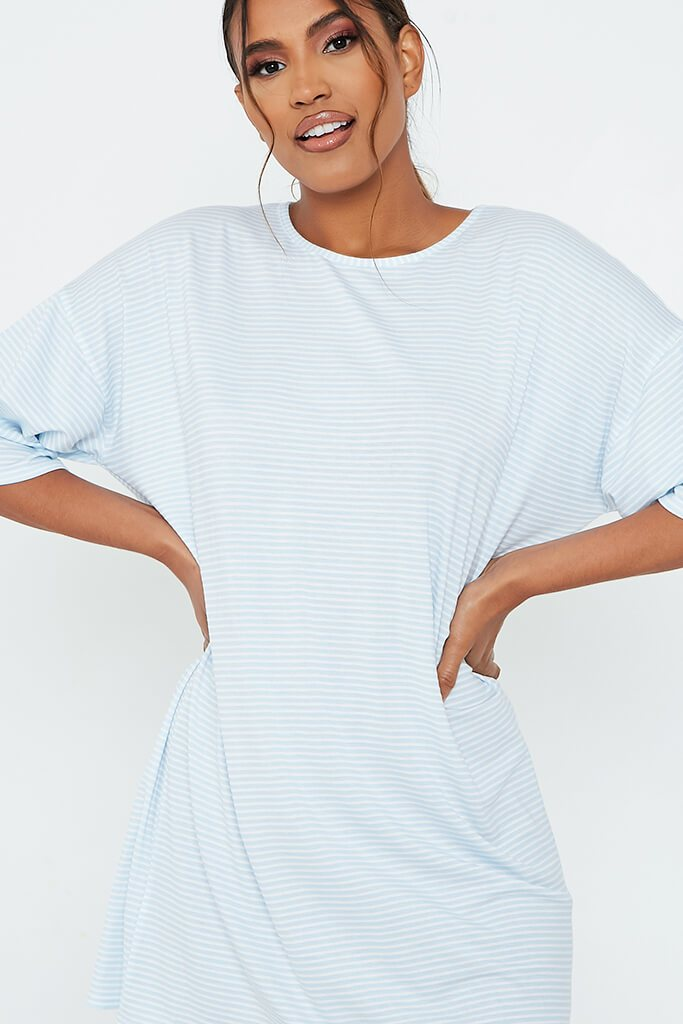 Baby Blue Stripe Oversized T-Shirt Dress view 4