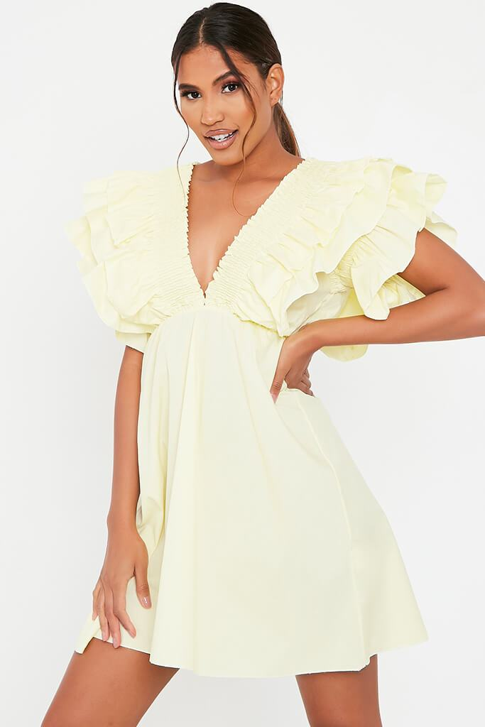 Lemon Cotton Shirred Plunge Ruffle Sleeve Skater Dress