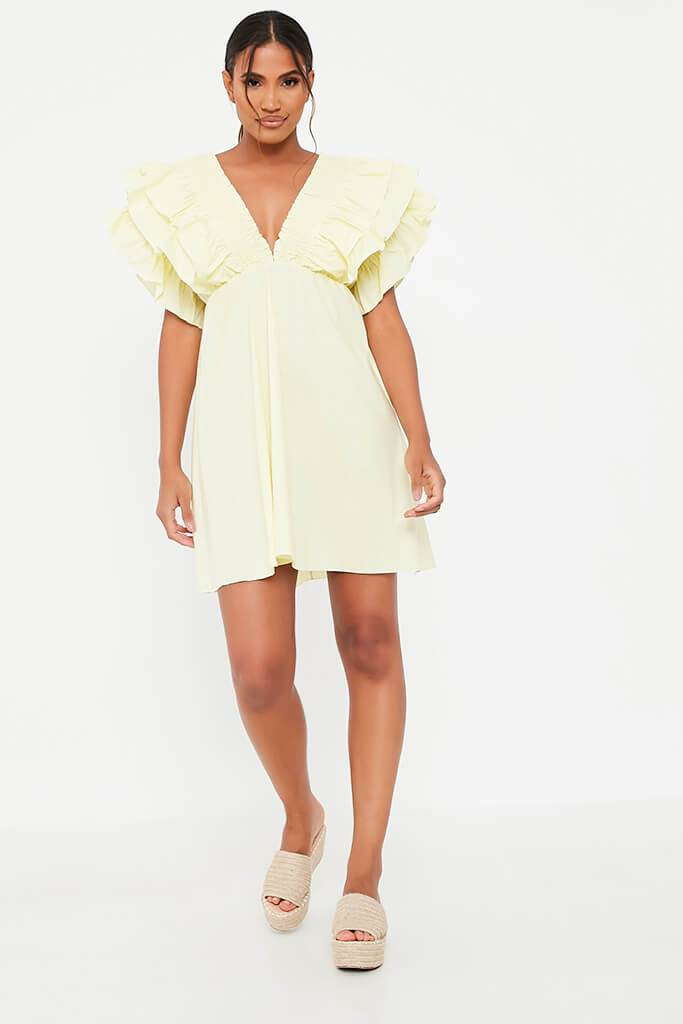 Lemon Cotton Shirred Plunge Ruffle Sleeve Skater Dress view 2