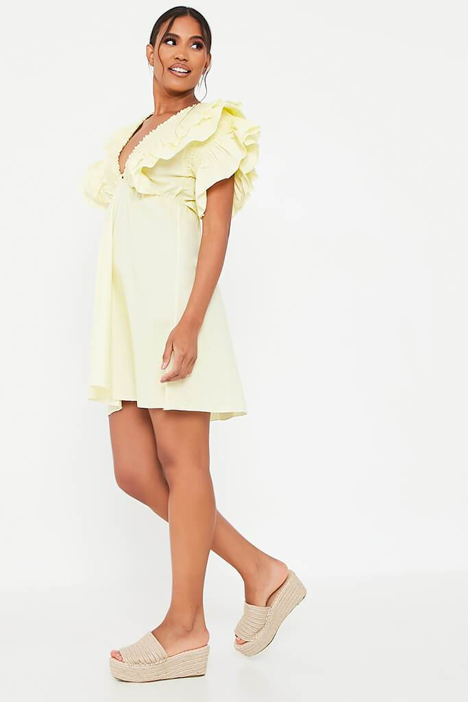 Lemon Cotton Shirred Plunge Ruffle Sleeve Skater Dress view 3