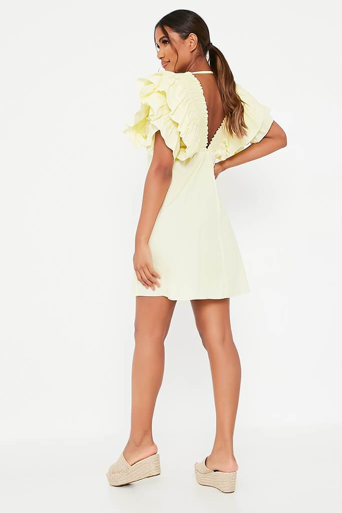 Lemon Cotton Shirred Plunge Ruffle Sleeve Skater Dress view 5