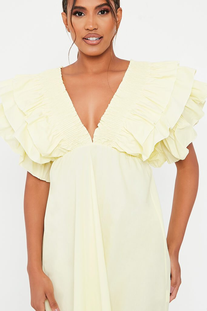 Lemon Cotton Shirred Plunge Ruffle Sleeve Skater Dress view 4