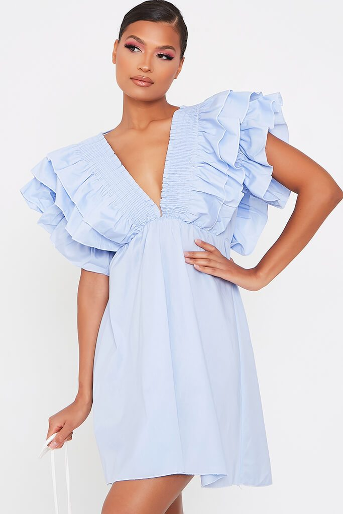 Baby Blue Cotton Shirred Plunge Ruffle Sleeve Skater Dress