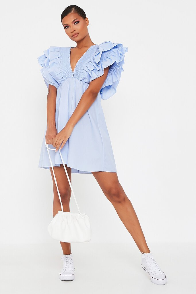 Baby Blue Cotton Shirred Plunge Ruffle Sleeve Skater Dress view 2