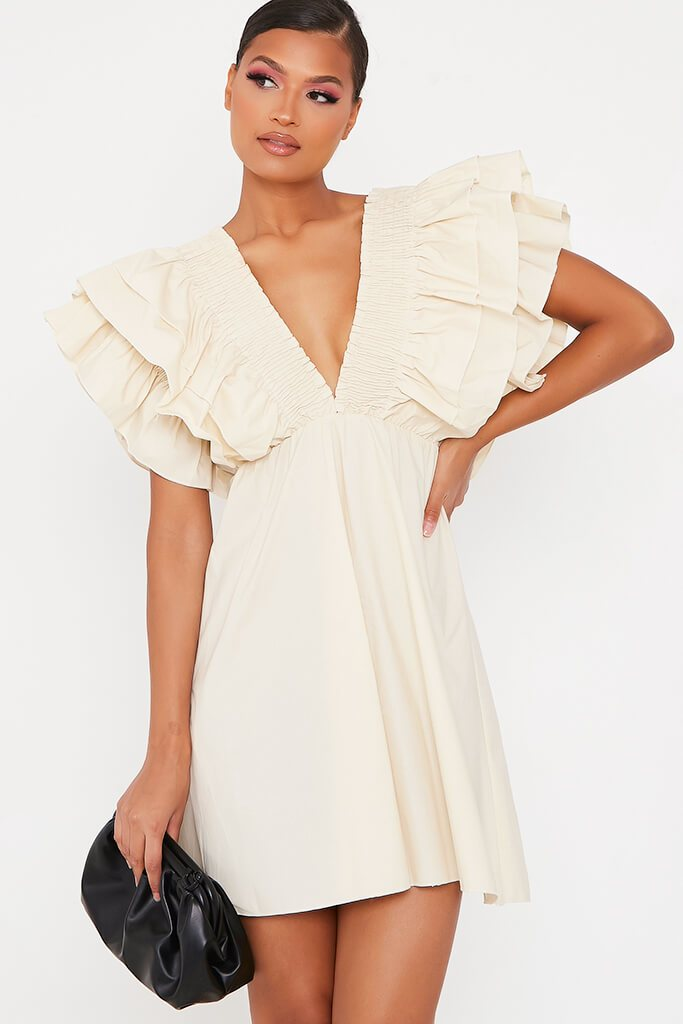 Sand Cotton Shirred Plunge Ruffle Sleeve Skater Dress view main view