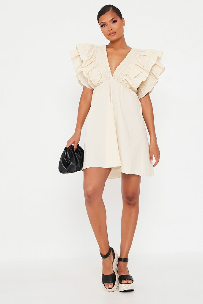 Sand Cotton Shirred Plunge Ruffle Sleeve Skater Dress view 2