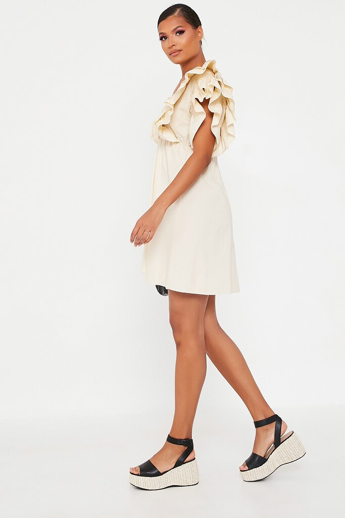 Sand Cotton Shirred Plunge Ruffle Sleeve Skater Dress view 3