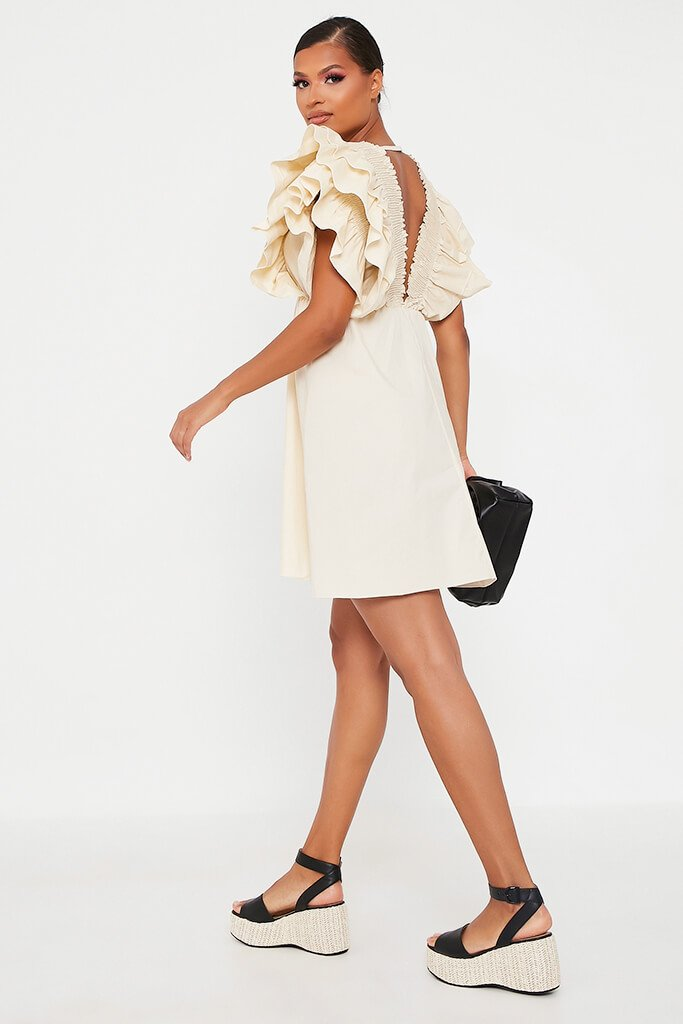 Sand Cotton Shirred Plunge Ruffle Sleeve Skater Dress view 5